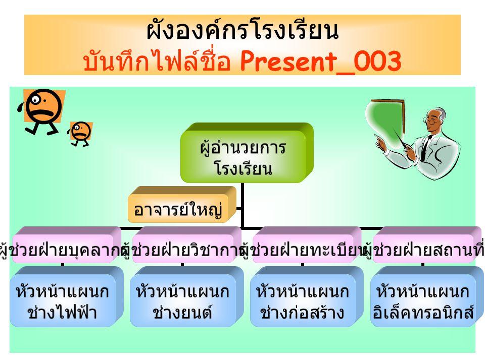 ผังองค์กรโรงเรียน บันทึกไฟล์ชื่อ Present_003