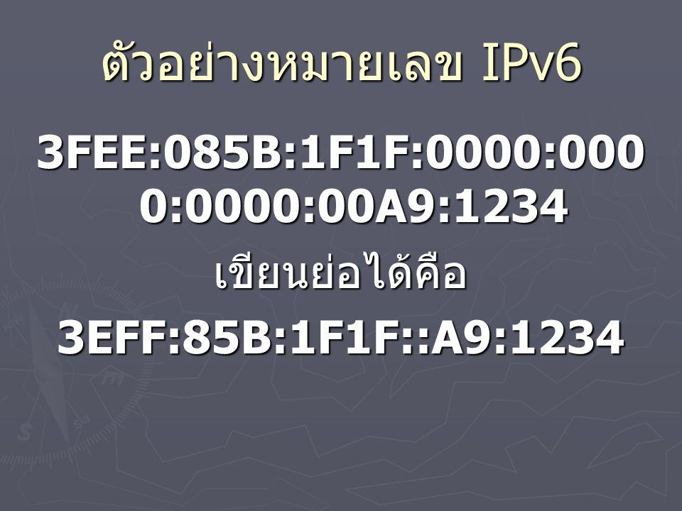 ตัวอย่างหมายเลข IPv6 3FEE:085B:1F1F:0000:0000:0000:00A9:1234