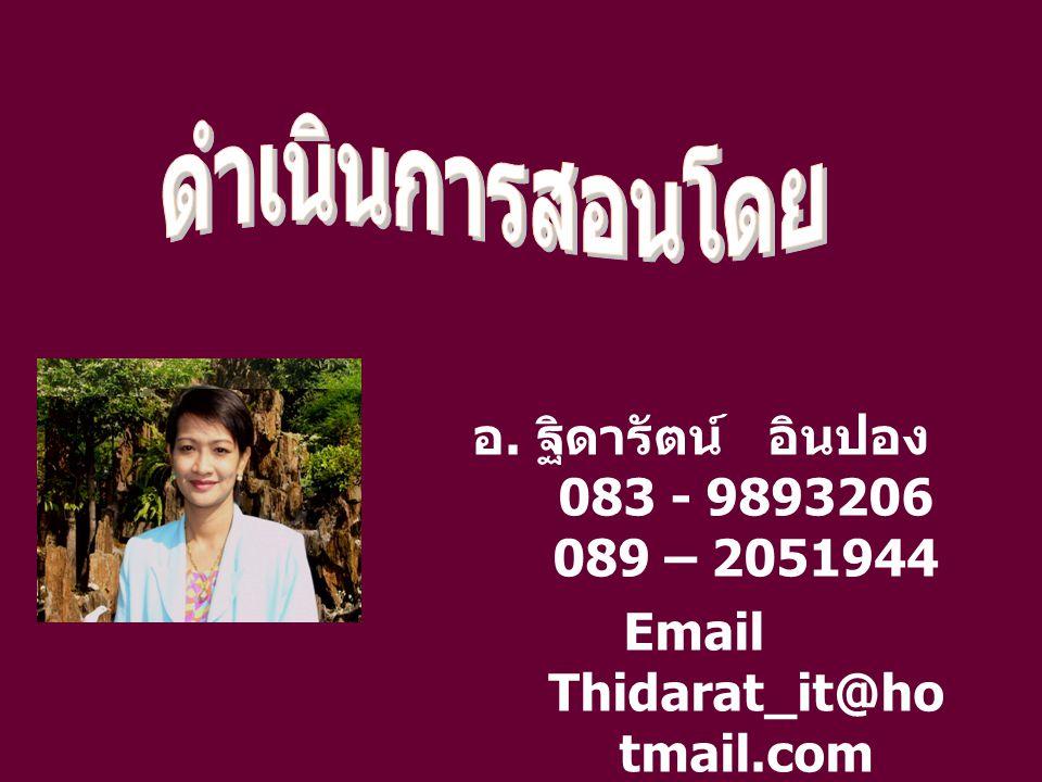 Email Thidarat_it@hotmail.com