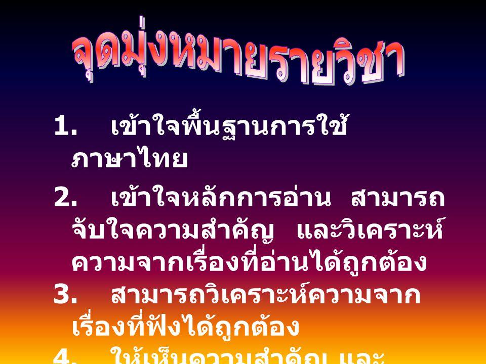 1. เข้าใจพื้นฐานการใช้ภาษาไทย