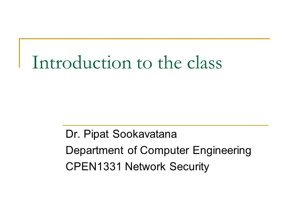 Introduction to the class