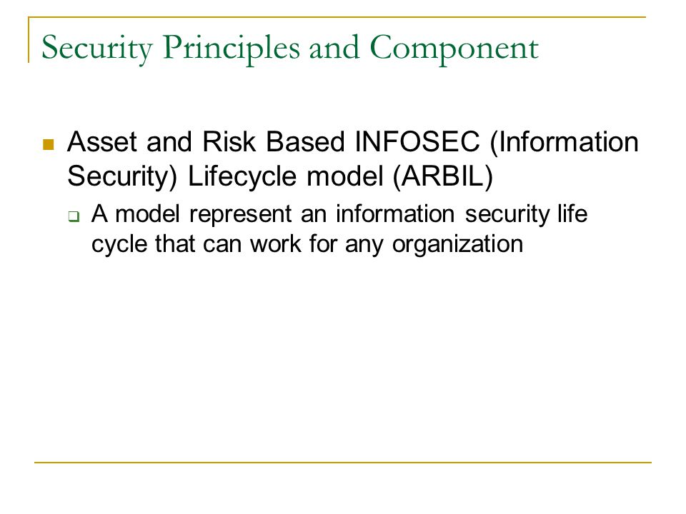 Security Principles and Component