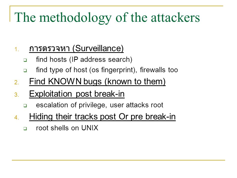 The methodology of the attackers
