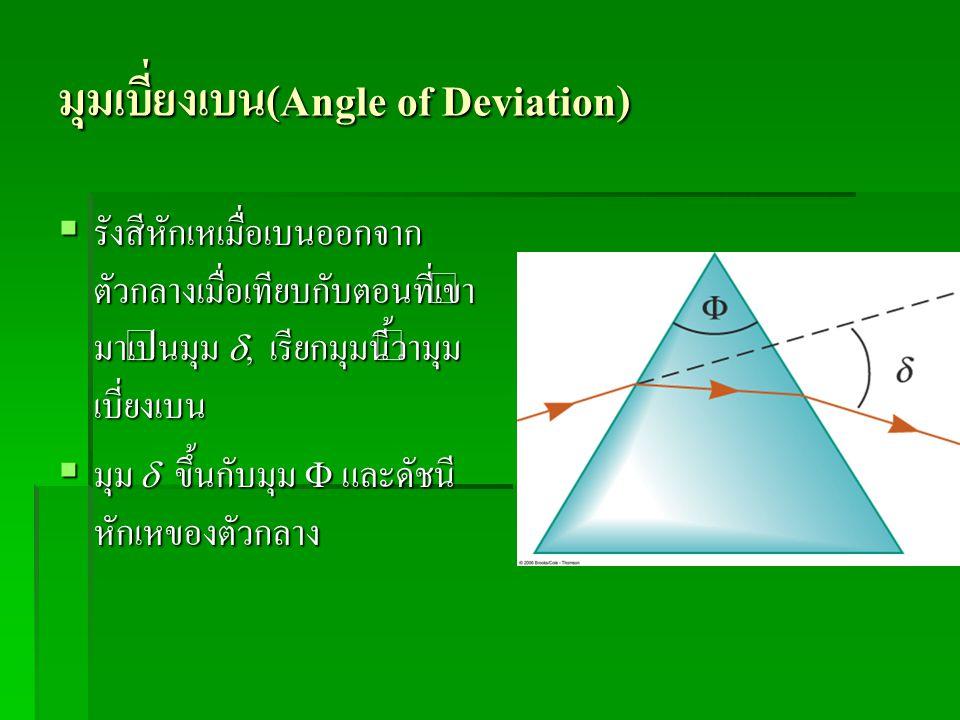 มุมเบี่ยงเบน(Angle of Deviation)