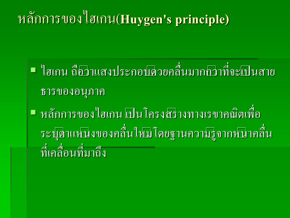 หลักการของไฮเกน(Huygen s principle)