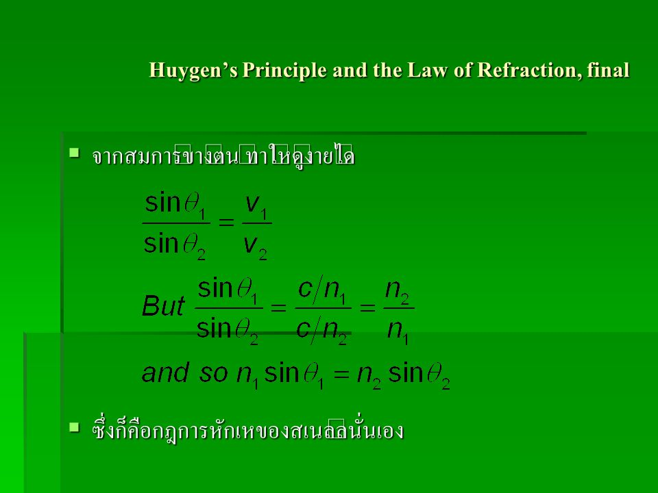 Huygen's Principle and the Law of Refraction, final