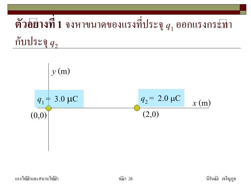 ตัวอย่างที่ 1 จงหาขนาดของแรงที่ประจุ q1 ออกแรงกระทำกับประจุ q2