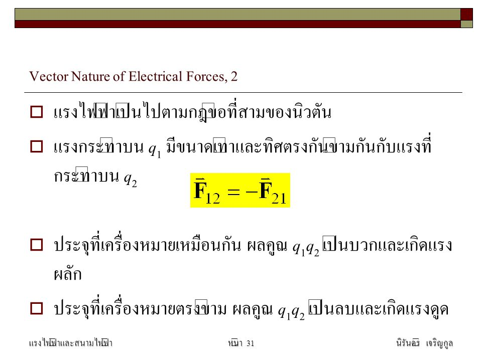 Vector Nature of Electrical Forces, 2