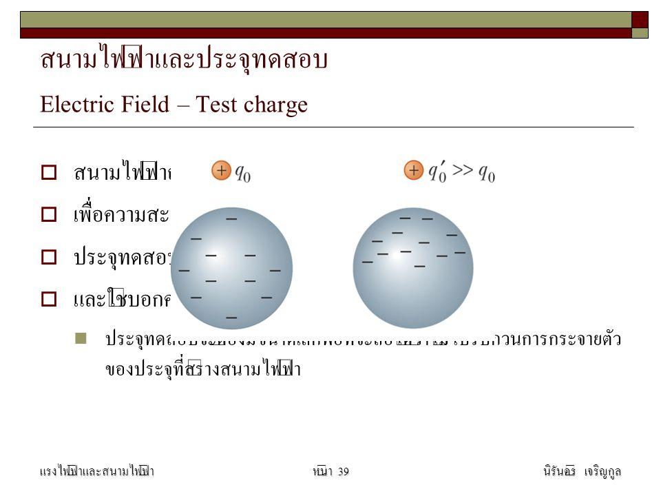 สนามไฟฟ้าและประจุทดสอบ Electric Field – Test charge
