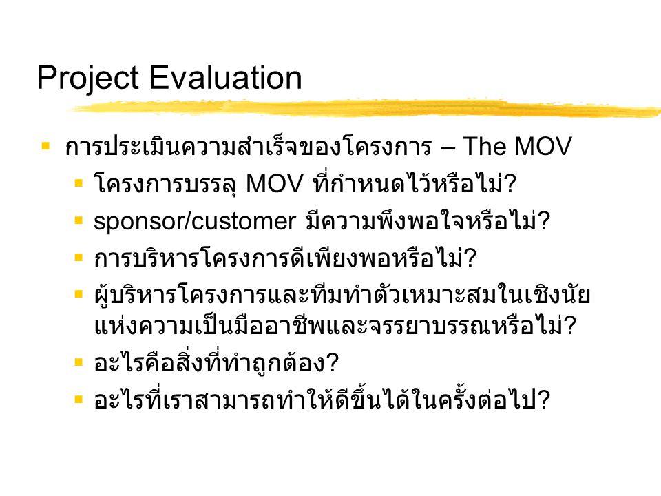 Project Evaluation การประเมินความสำเร็จของโครงการ – The MOV