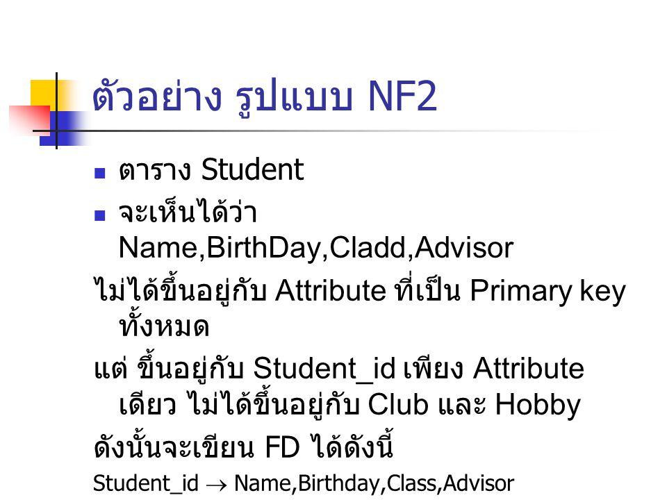 ตัวอย่าง รูปแบบ NF2 ตาราง Student