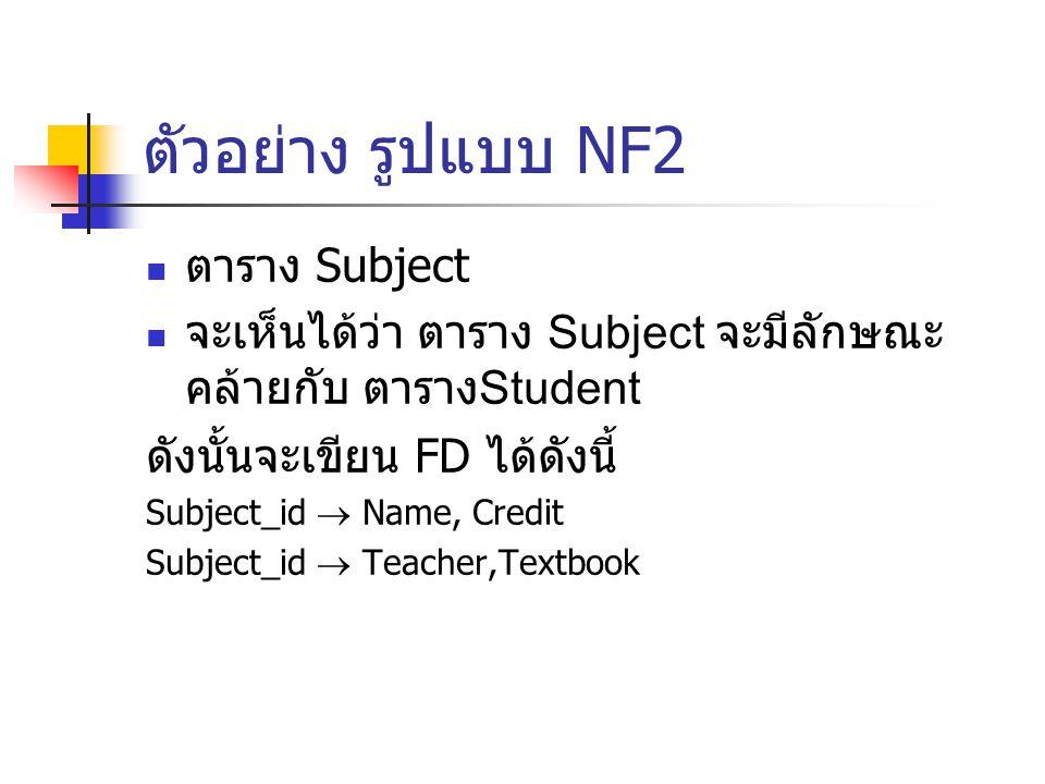 ตัวอย่าง รูปแบบ NF2 ตาราง Subject