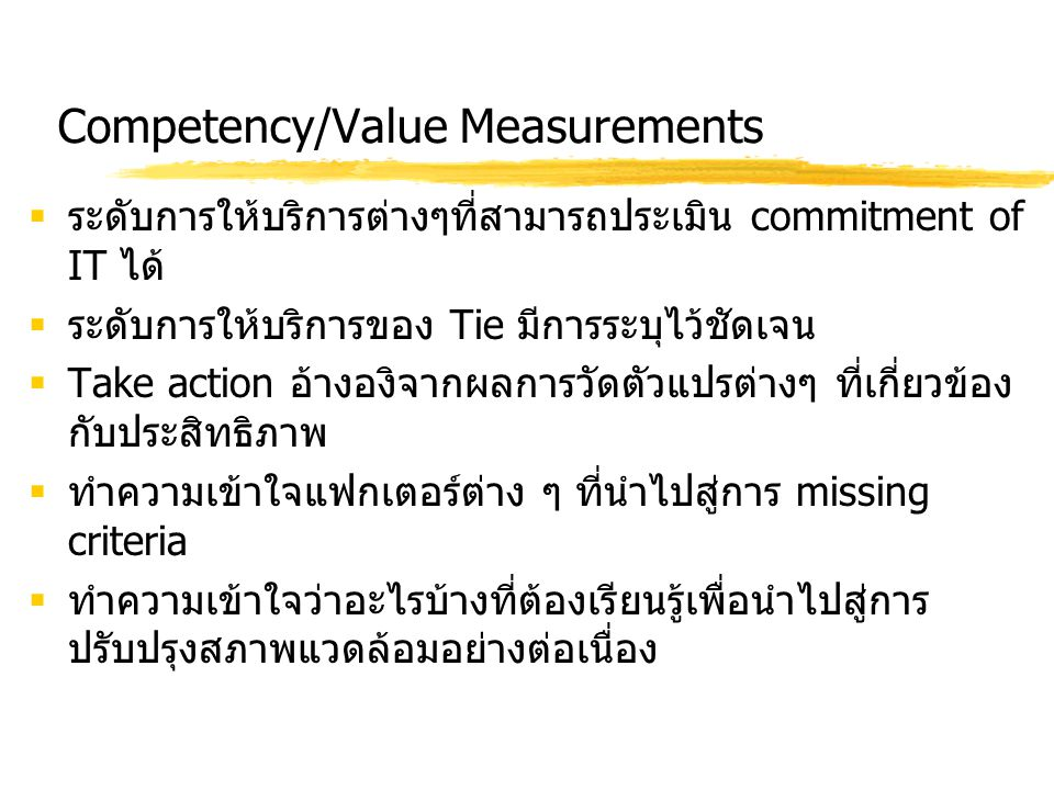 Competency/Value Measurements