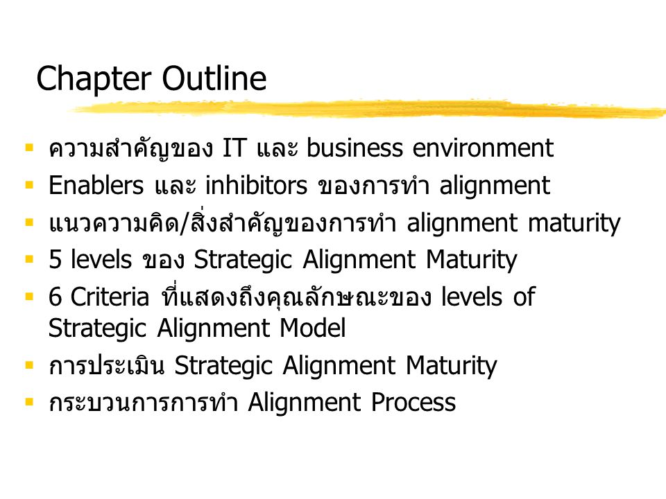 Chapter Outline ความสำคัญของ IT และ business environment