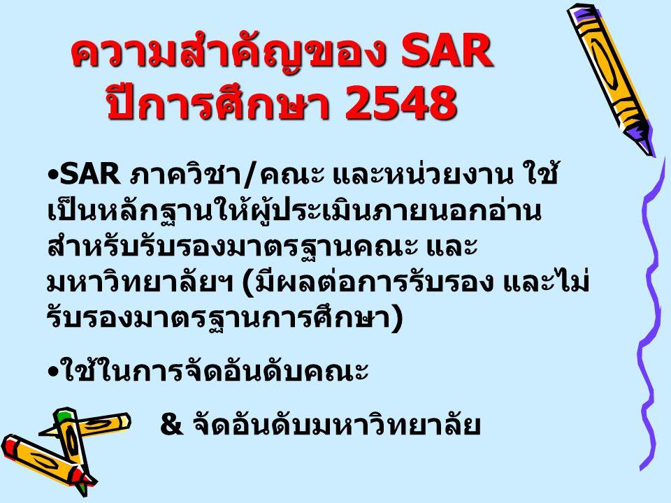 ความสำคัญของ SAR ปีการศึกษา 2548