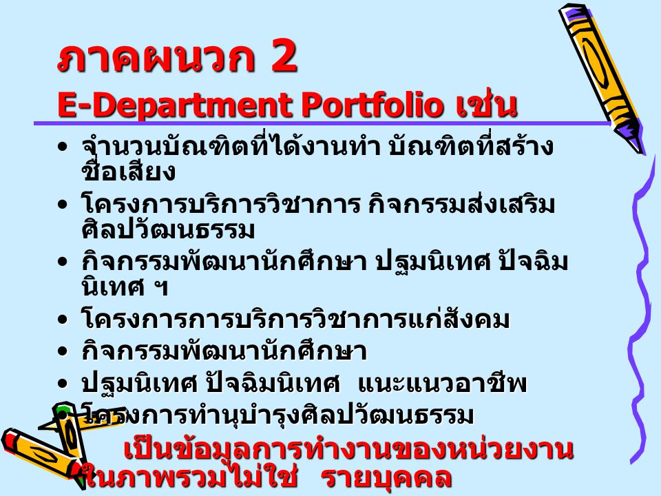 ภาคผนวก 2 E-Department Portfolio เช่น