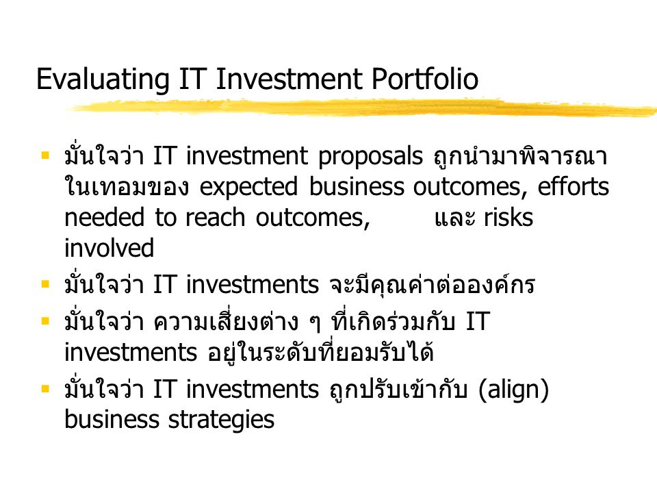 Evaluating IT Investment Portfolio