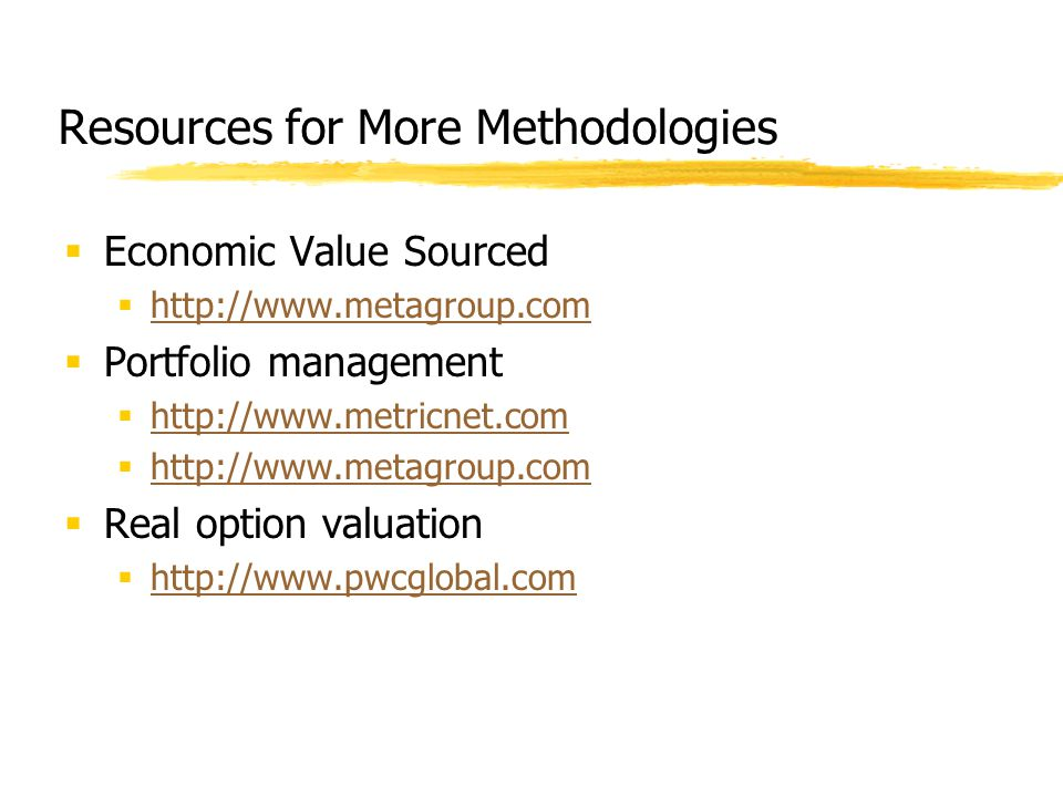 Resources for More Methodologies