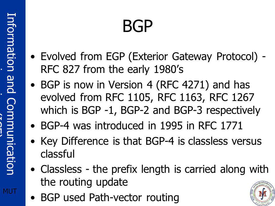 BGP Evolved from EGP (Exterior Gateway Protocol) - RFC 827 from the early 1980's.