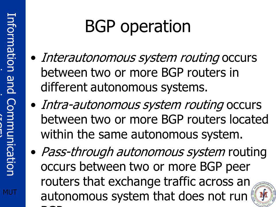 BGP operation Interautonomous system routing occurs between two or more BGP routers in different autonomous systems.