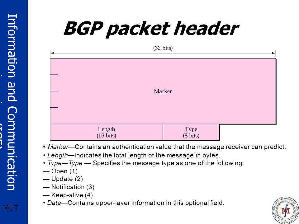 BGP packet header Marker—Contains an authentication value that the message receiver can predict.