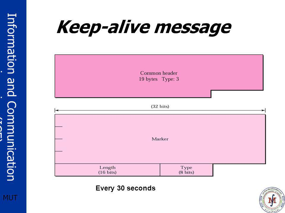 Keep-alive message Every 30 seconds