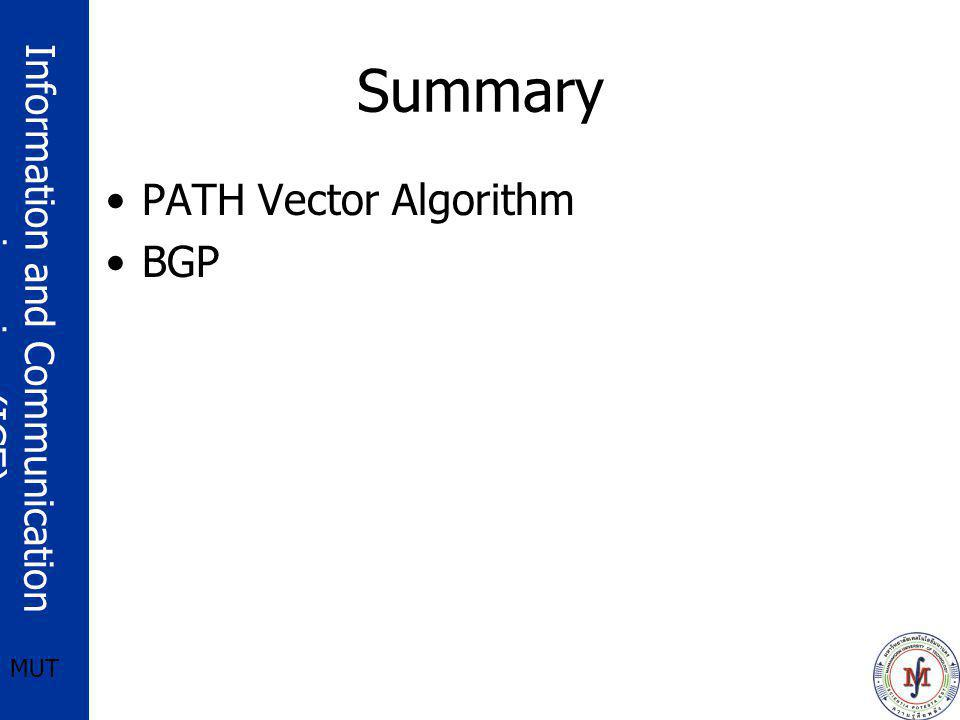 Summary PATH Vector Algorithm BGP