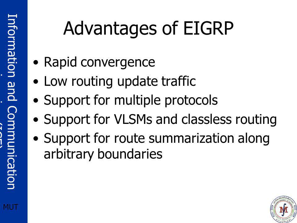 Advantages of EIGRP Rapid convergence Low routing update traffic