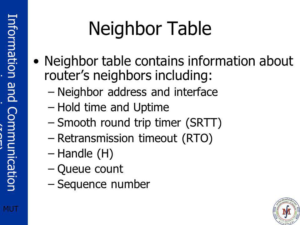 Neighbor Table Neighbor table contains information about router's neighbors including: Neighbor address and interface.