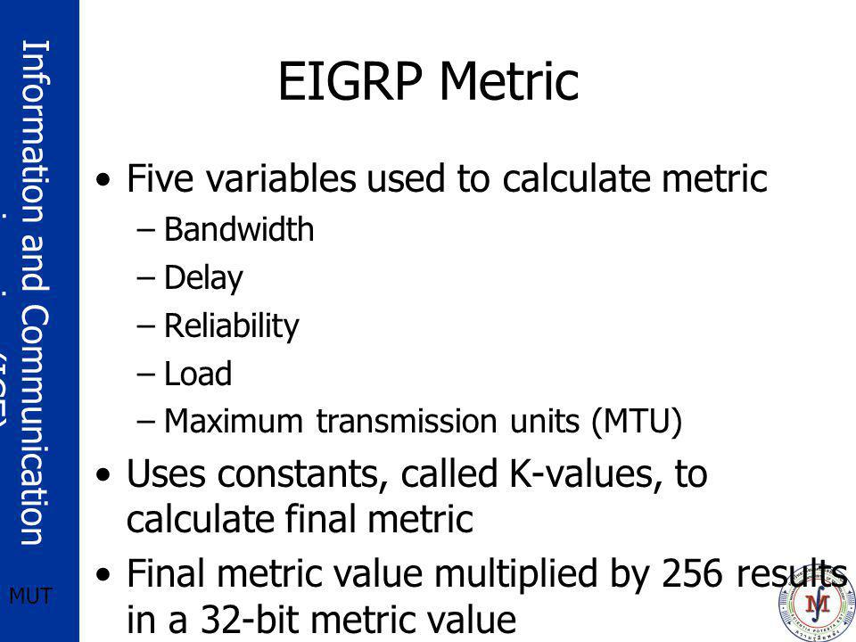 EIGRP Metric Five variables used to calculate metric