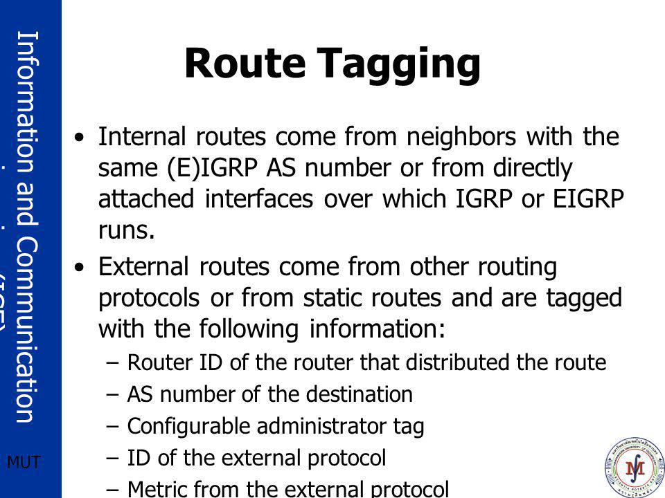 Route Tagging Internal routes come from neighbors with the same (E)IGRP AS number or from directly attached interfaces over which IGRP or EIGRP runs.