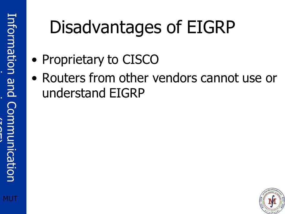Disadvantages of EIGRP