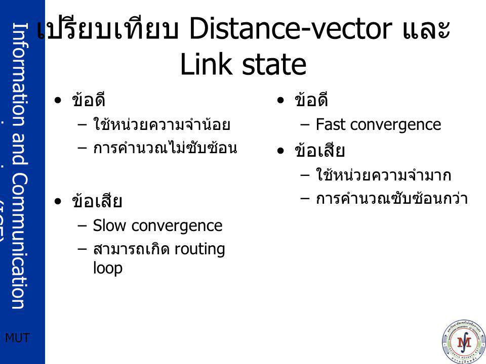 เปรียบเทียบ Distance-vector และ Link state