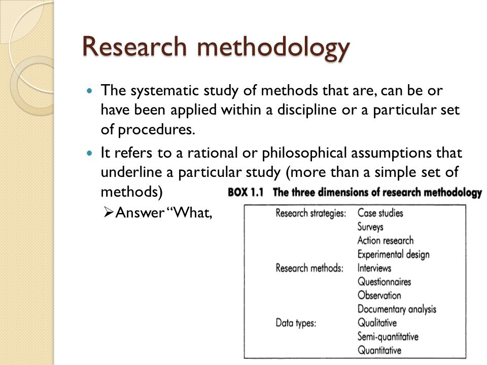 Research methodology The systematic study of methods that are, can be or have been applied within a discipline or a particular set of procedures.