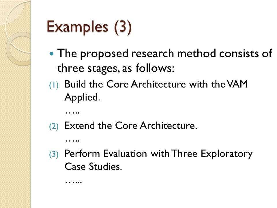 Examples (3) The proposed research method consists of three stages, as follows: Build the Core Architecture with the VAM Applied. …..