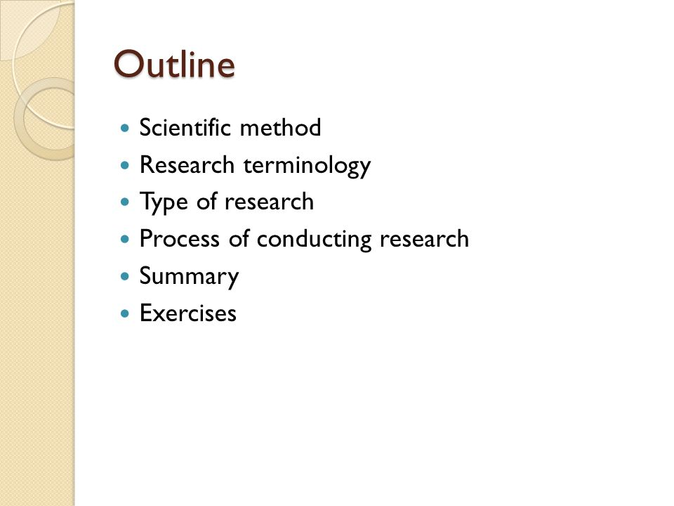 Outline Scientific method Research terminology Type of research