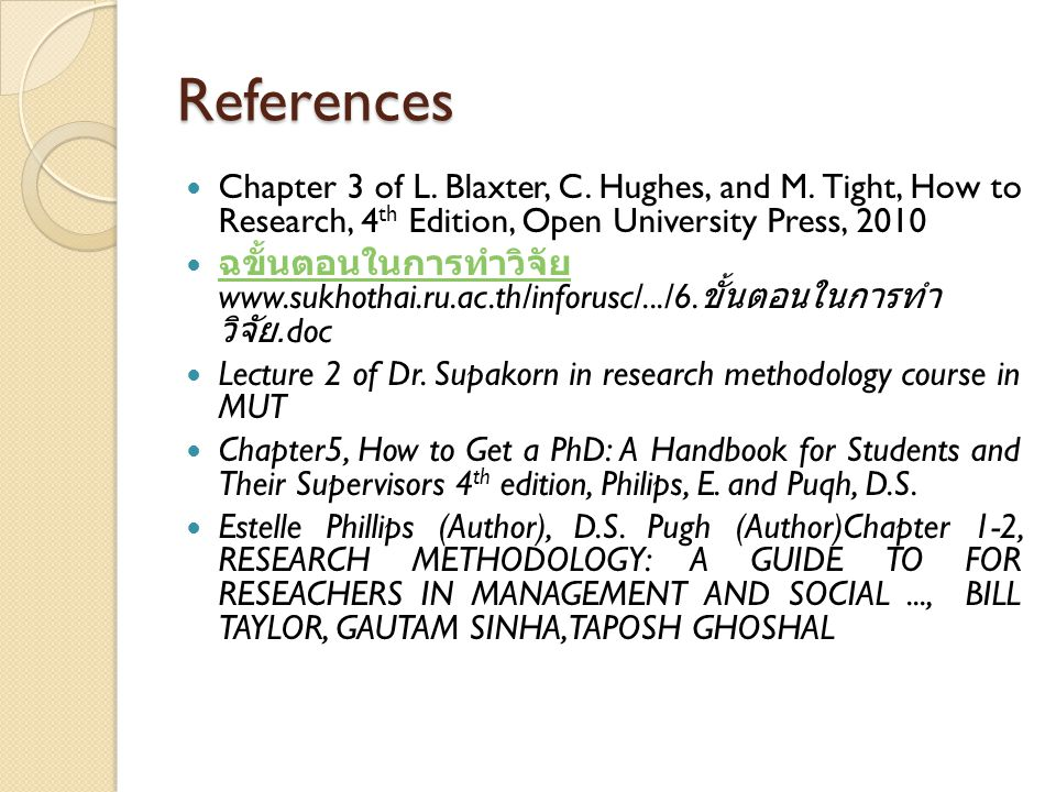 References Chapter 3 of L. Blaxter, C. Hughes, and M. Tight, How to Research, 4th Edition, Open University Press, 2010.