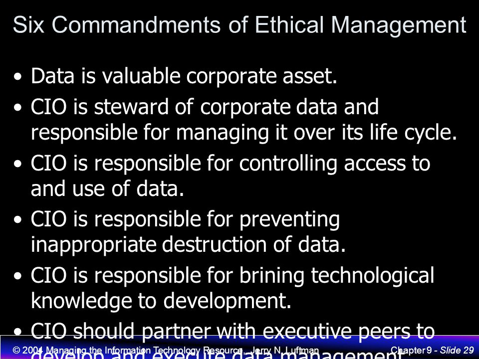 Six Commandments of Ethical Management