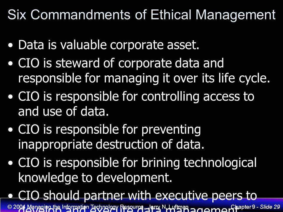 Six Commandments of Ethical Management