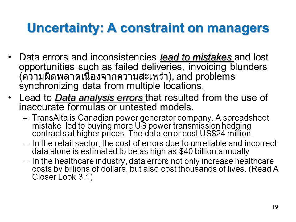 Uncertainty: A constraint on managers