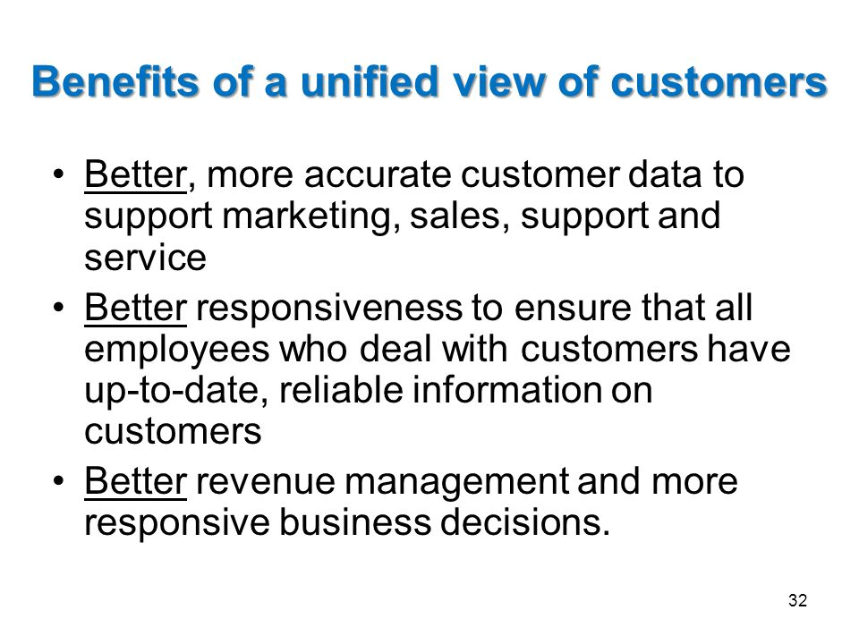 Benefits of a unified view of customers