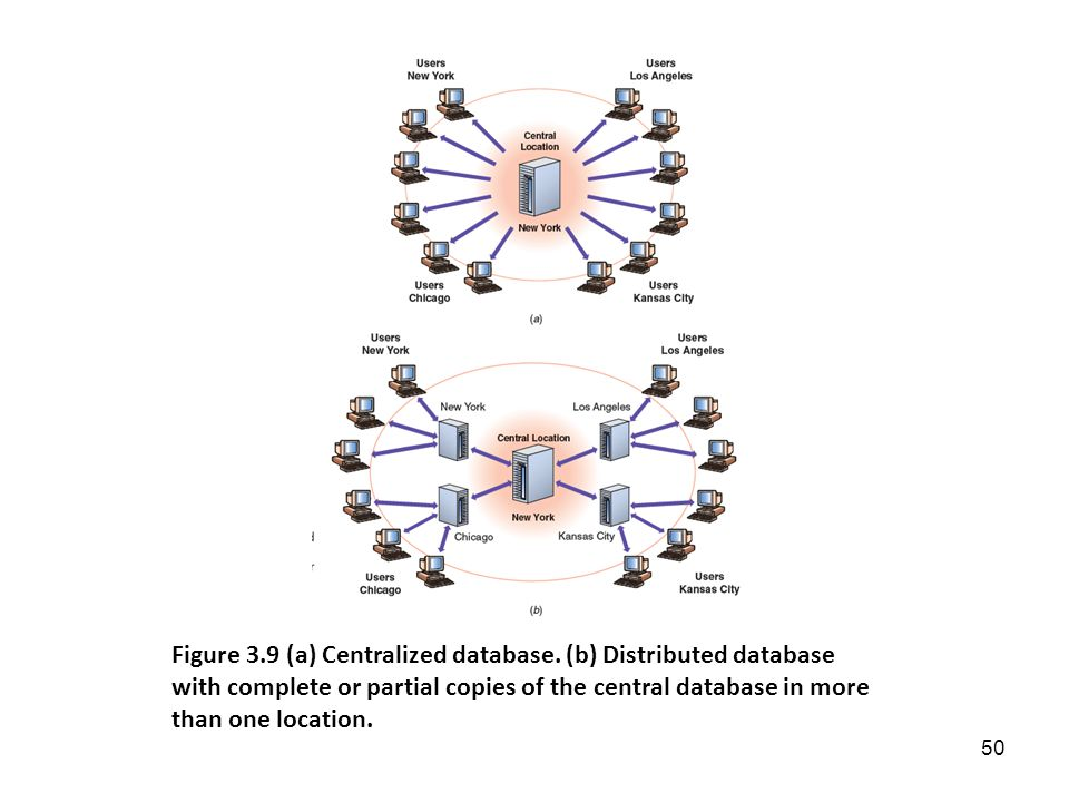 Centralized database stores all related files in one physical location