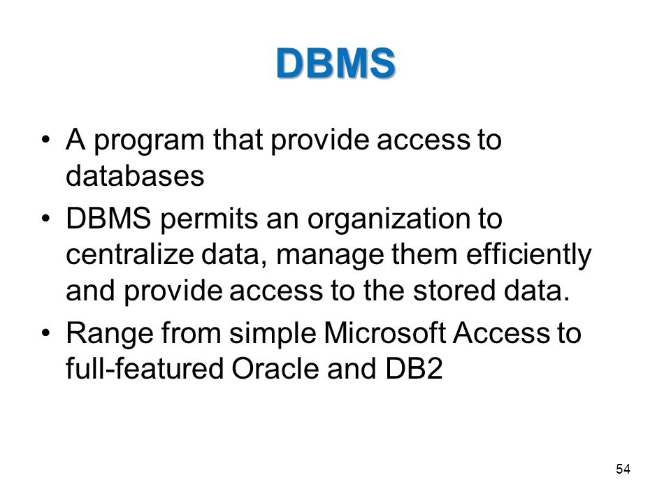 DBMS A program that provide access to databases