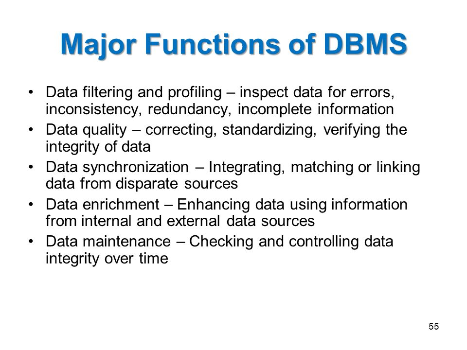 Major Functions of DBMS