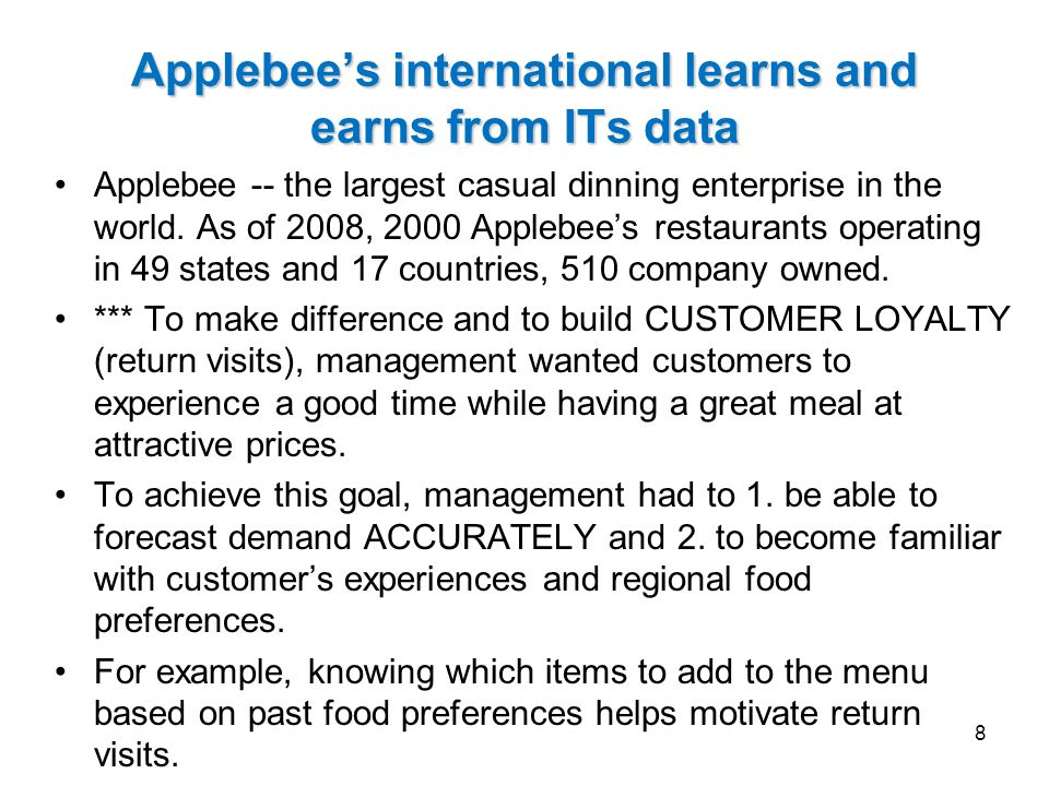 Applebee's international learns and earns from ITs data