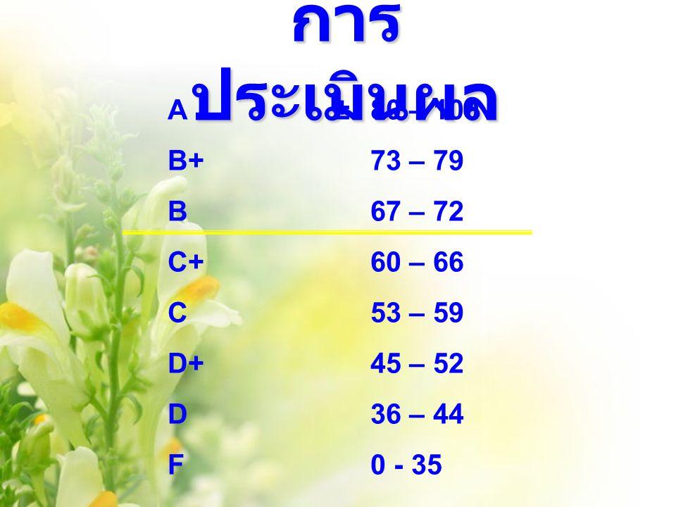 การประเมินผล A ± 80 – 100 B+ 73 – 79 B 67 – 72 C+ 60 – 66 C 53 – 59