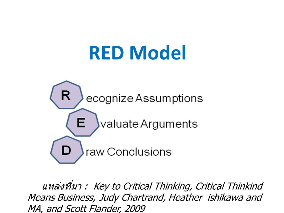 RED Model แหล่งที่มา : Key to Critical Thinking, Critical Thinkind Means Business, Judy Chartrand, Heather ishikawa and MA, and Scott Flander, 2009.