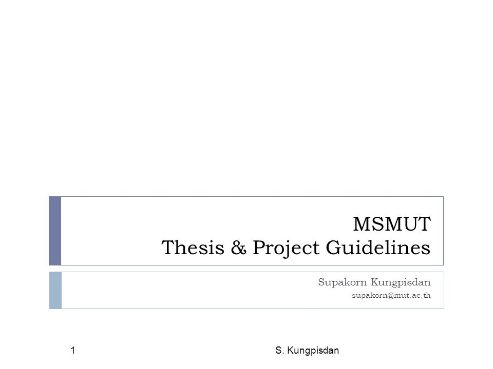 MSMUT Thesis & Project Guidelines