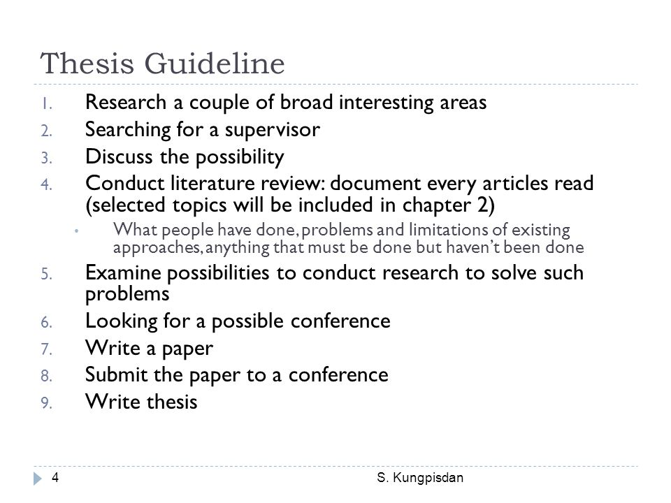 Thesis Guideline Research a couple of broad interesting areas