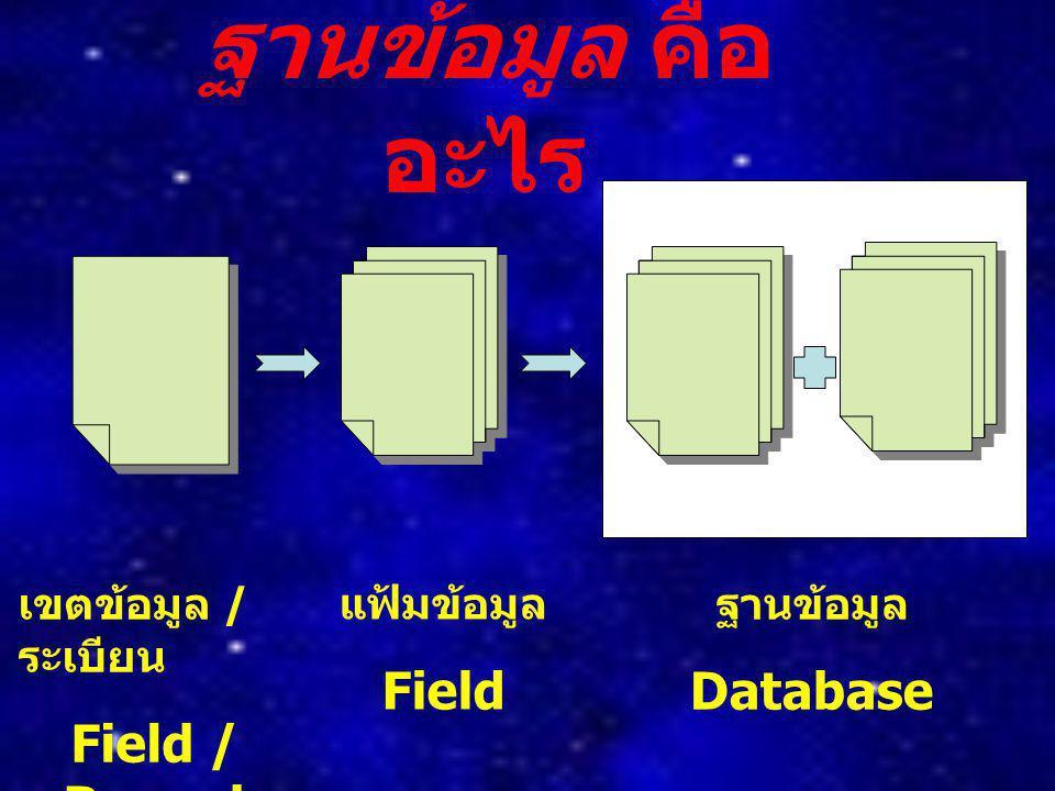 ฐานข้อมูล คืออะไร Field / Record Field Database เขตข้อมูล / ระเบียน